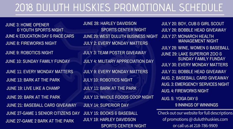Huskies Announce 2018 Promotional Schedule - Duluth Huskies