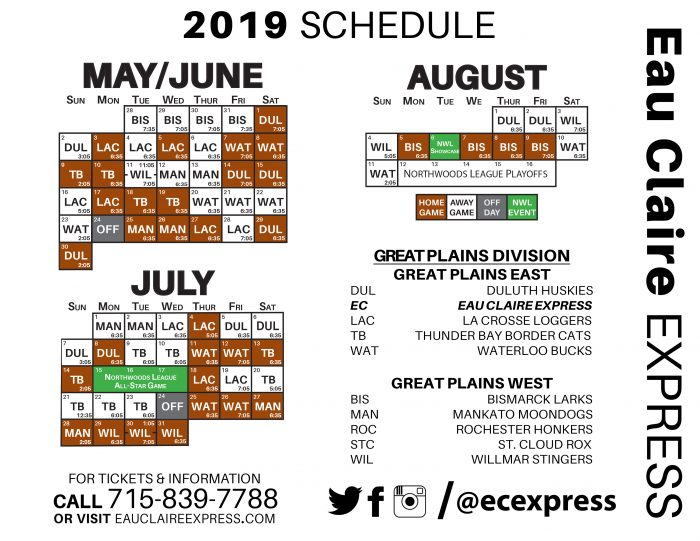 picture about Thunder Schedule Printable named Printable Routine - Eau Claire Specific : Eau Claire Specific
