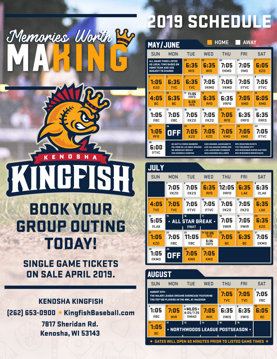 photo regarding Rays Printable Schedule known as 2019 Routine - Kenosha Kingfish : Kenosha Kingfish