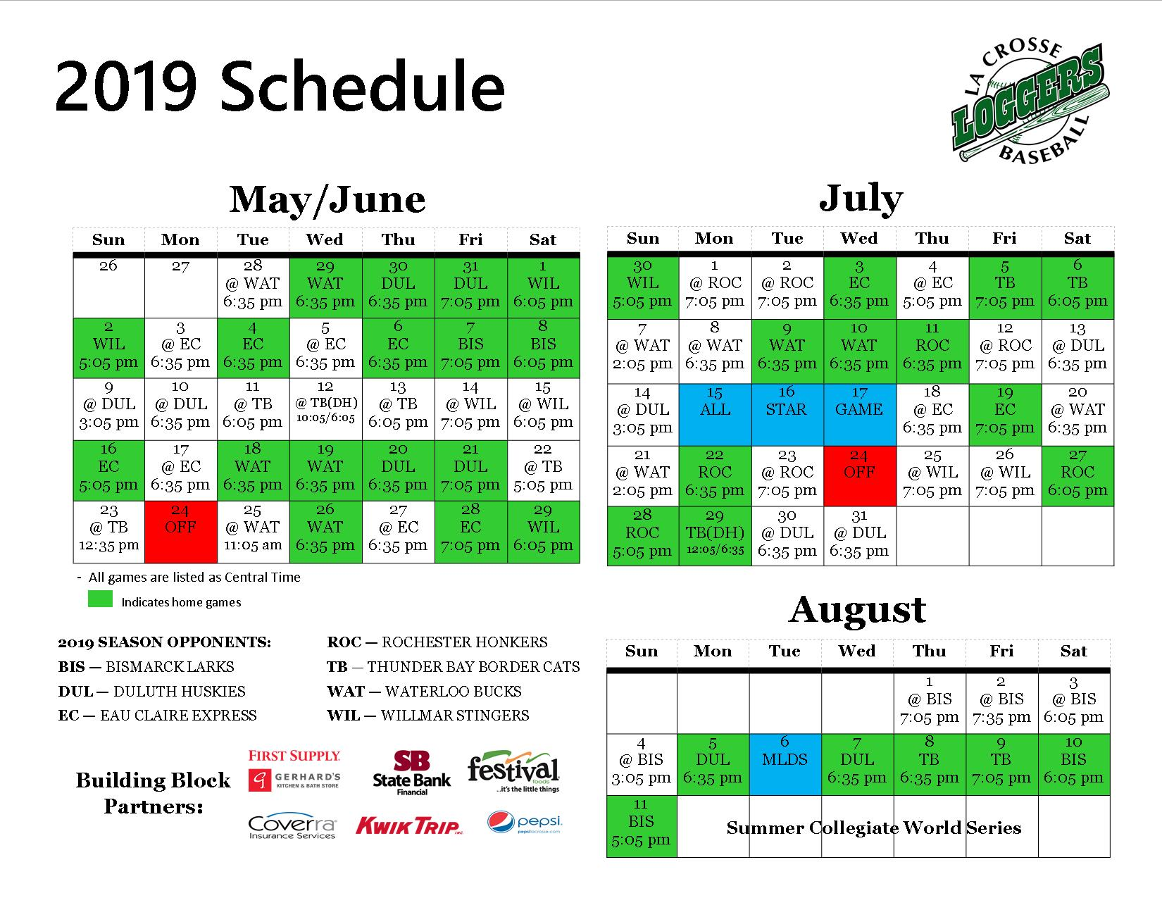 graphic about Green Bay Packers Printable Schedule named Printable Match Timetable - La Crosse Loggers : La Crosse Loggers