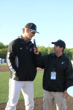 Langley speaks with Joe Labarbara after news he was drafted.