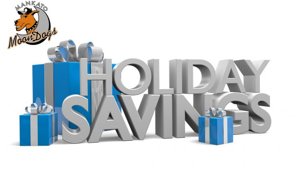 Holiday Savings 3D text and blue gift boxes tied with silver rib