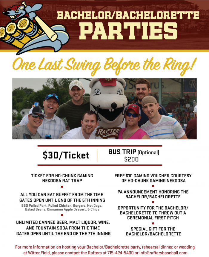 bachelor and bachelorette parties wisconsin rapids rafters