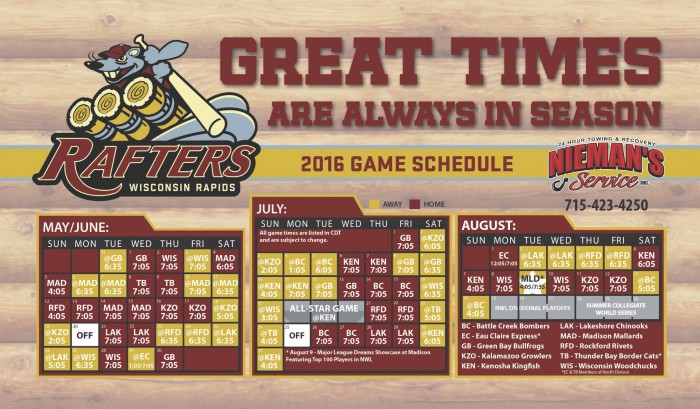 2016 promotional schedule wisconsin rapids rafters for Mankato craft beer expo