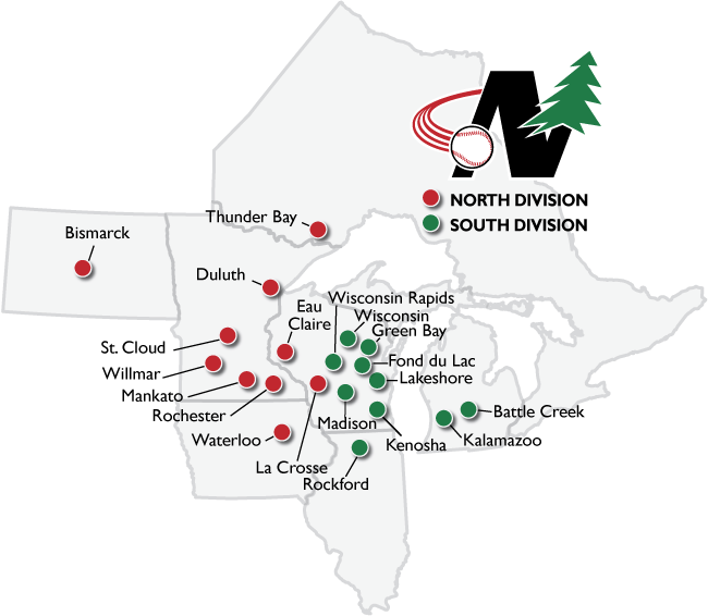 Map Of Locations Northwoods League Northwoods League